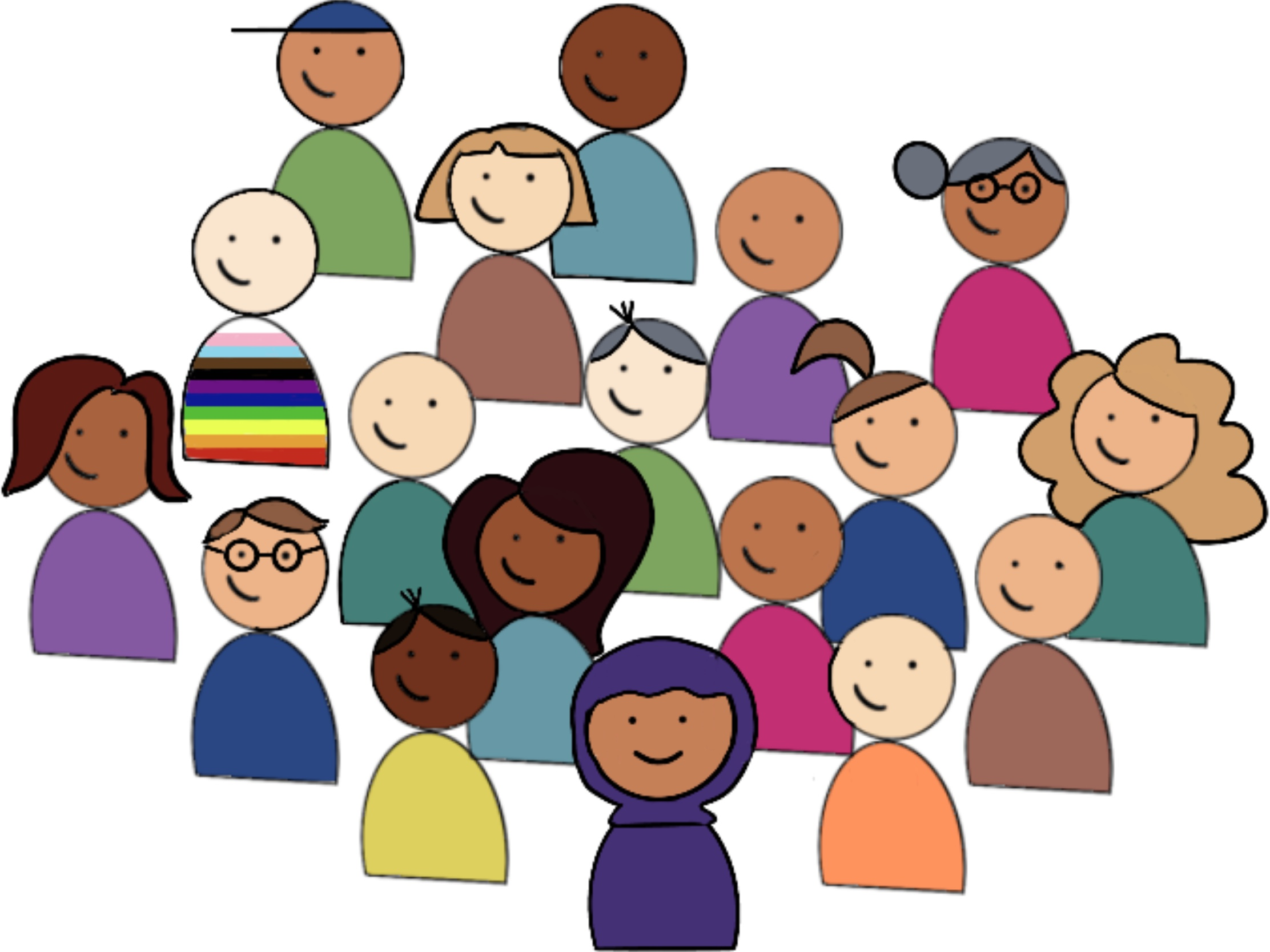 cartoon image of lots of people standing together