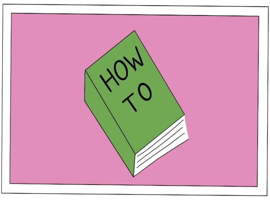 cartoon image of a book with the title How To