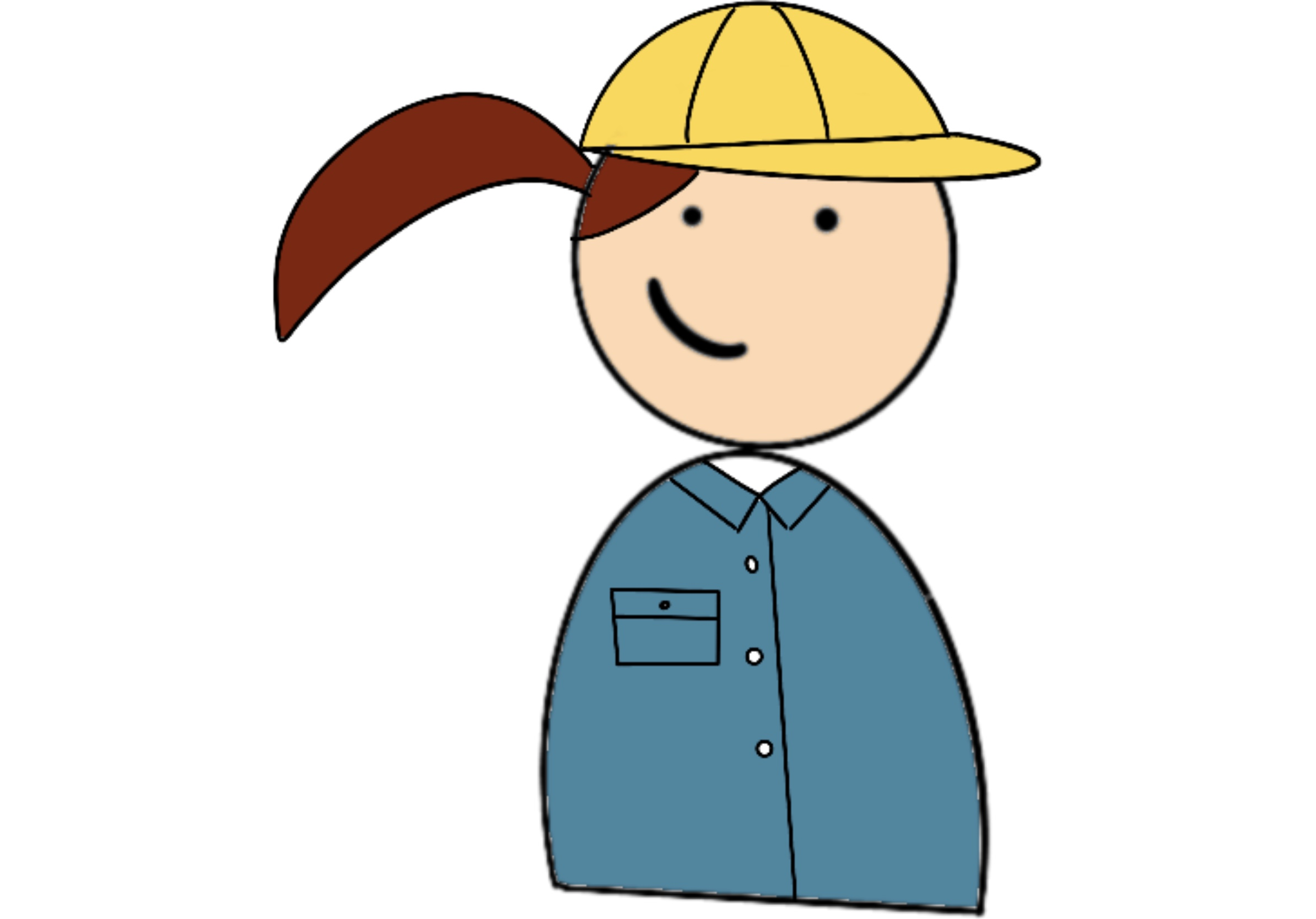 cartoon of girl with yellow hard hat