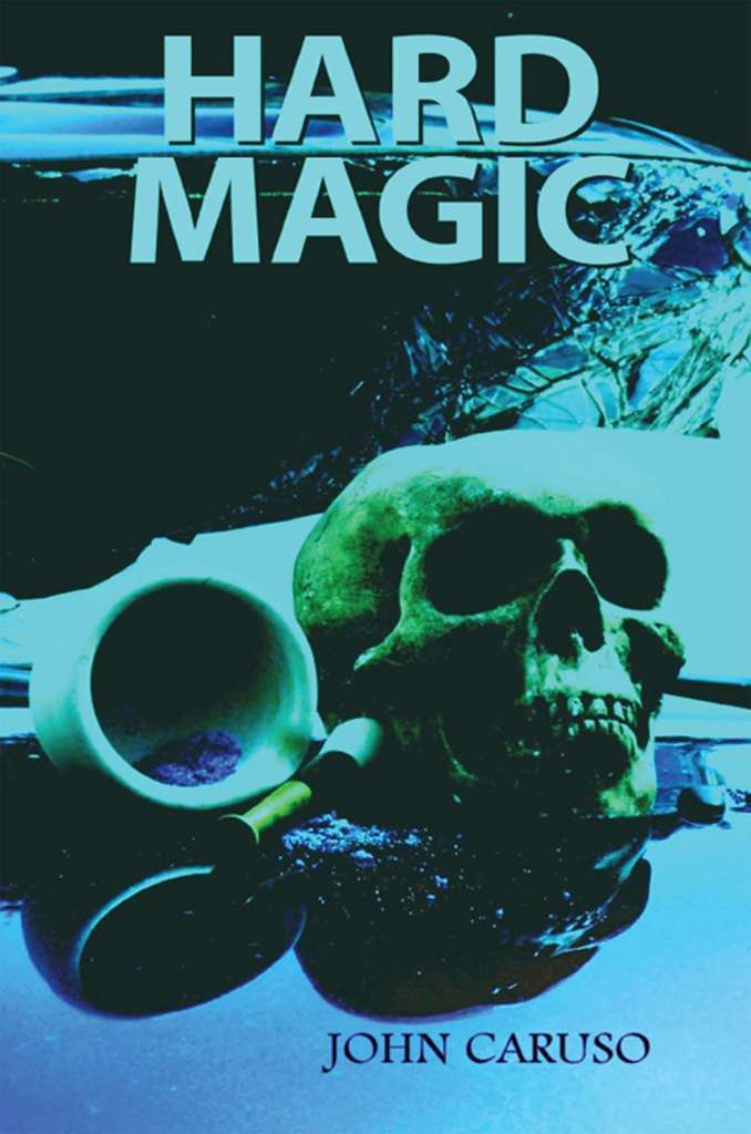 Hard Magic book cover, a dark image of a skull and a wrecked car