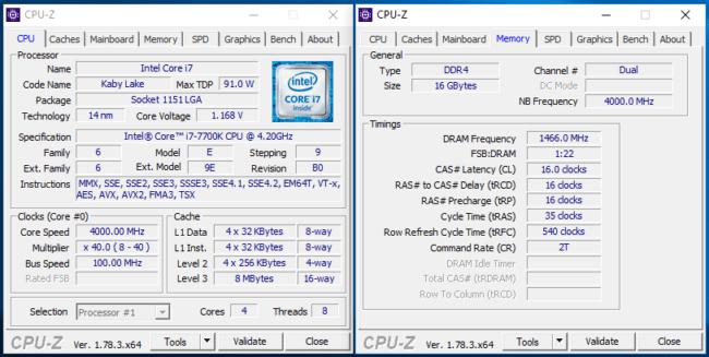 Core i7 7700K CPU-Z