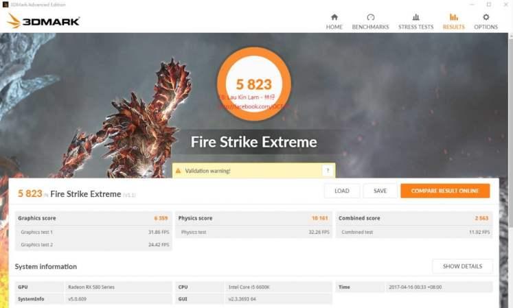 AMD Radeon RX 580 benchmarks - Fire Strike Extreme