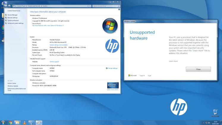 Windows updates blocked on older Intel, AMD processors