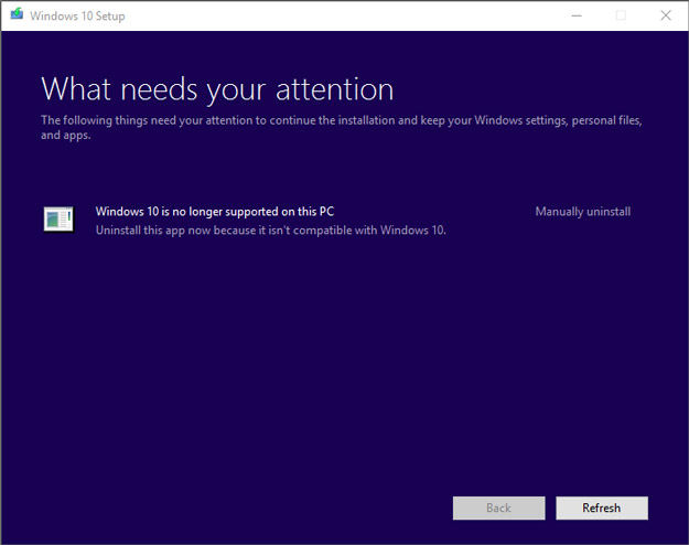 Windows 10 Creators Update No longer supported Error