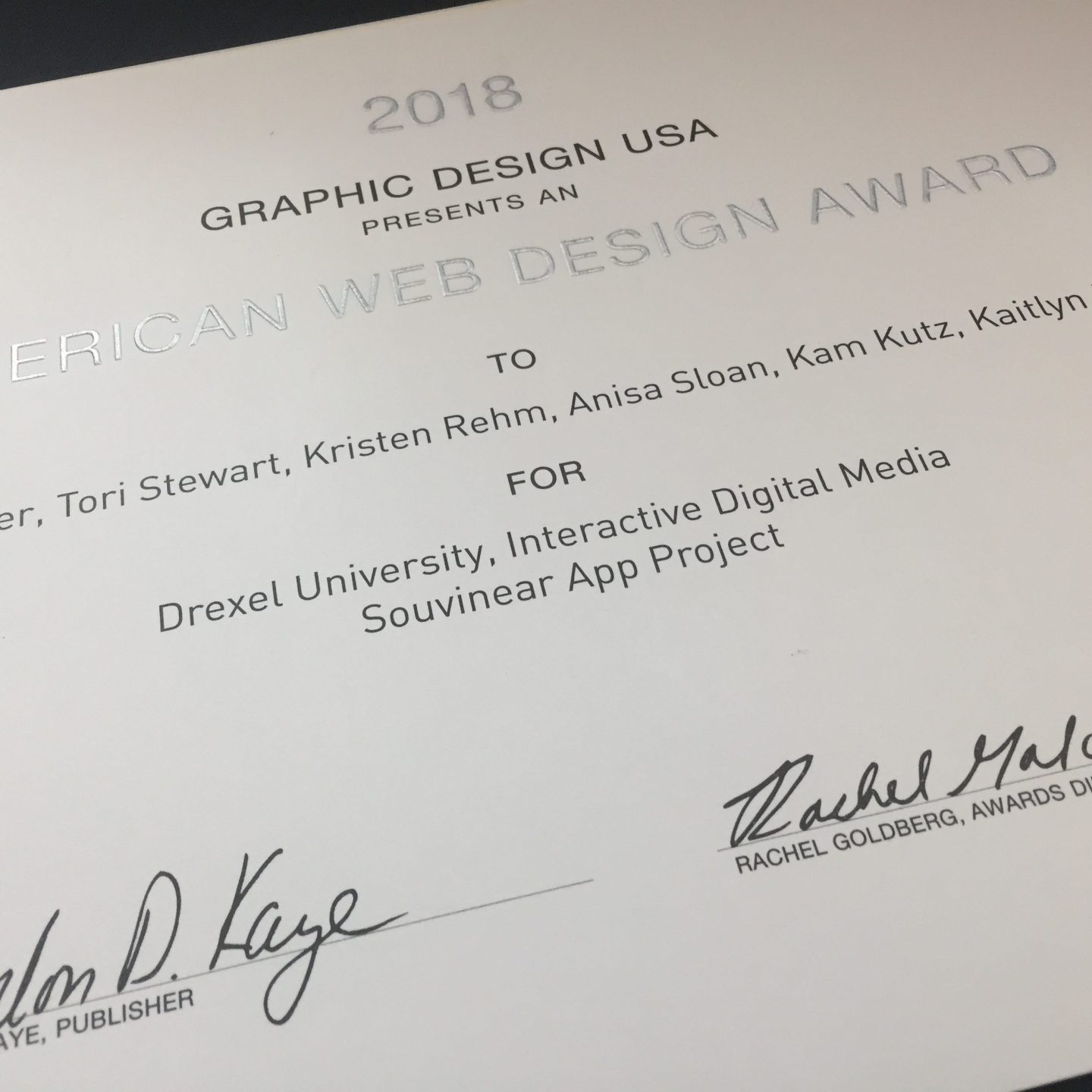 Souvinear Wins 2018 GDUSA American Web Design Award