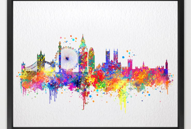 London Skyline UK United Kingdom Contemporary Watercolor Art Print N391