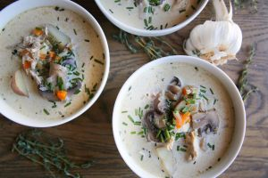 How to make creamy chicken and mushroom chowder