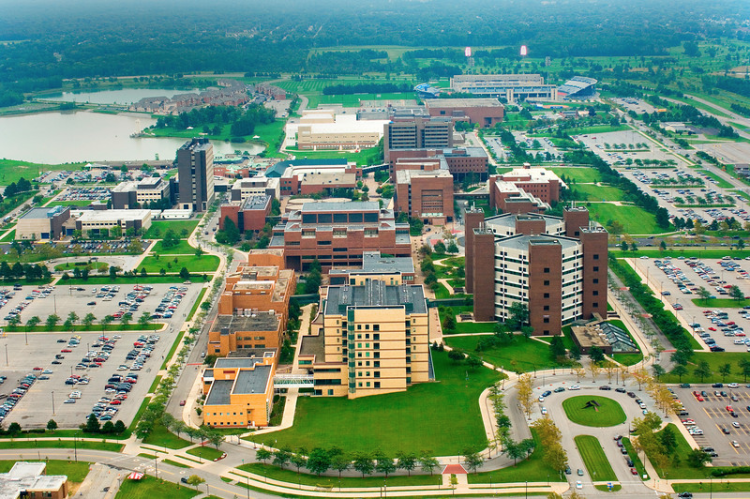 Aerial view of the University at Buffalo North Campus