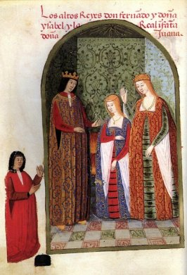 Richly dressed man and woman with a girl standing between them