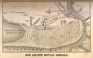 A black and white etched map depicting the battle of San Jacinto