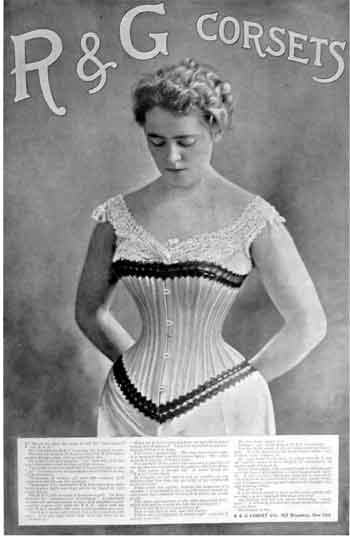 A black and white image of a woman dressed only in a shift with a corset, creating an extreme hourglass figure
