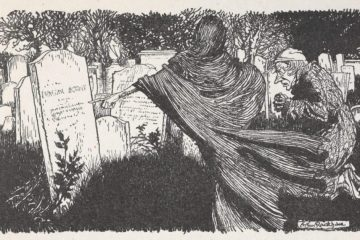 Black and white image of a dark, shadowy cloaked ghost showing an elderly man a graveyard