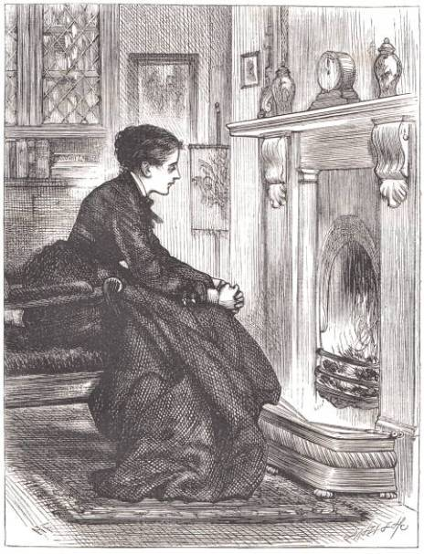 Black and white image of a young woman looking pensively into a raging fireplace