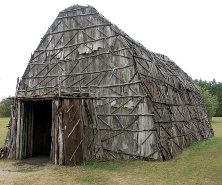 A Huron Longhouse at the St. Ignace Museum in northern Michigan
