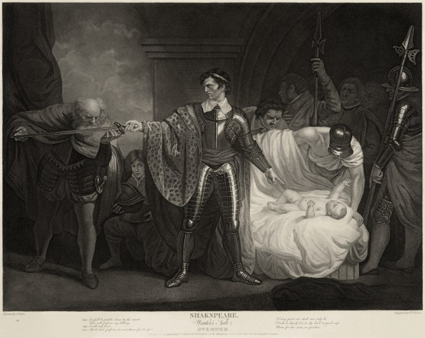 An engraving depicting a man holding a sword out to be inspected by an elderly bearded man while a crowd behind him looks down at a plump baby laying on a bed