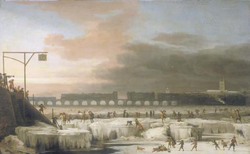 A dark painting depicting early morning or early evening on the Thames River, with small people and animals crawling around on the ice.
