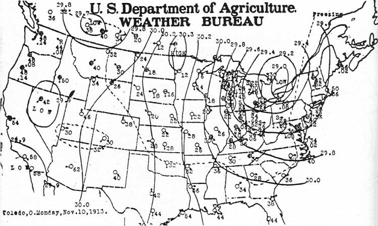 Black and white outline of the United States with lines marking weather fronts