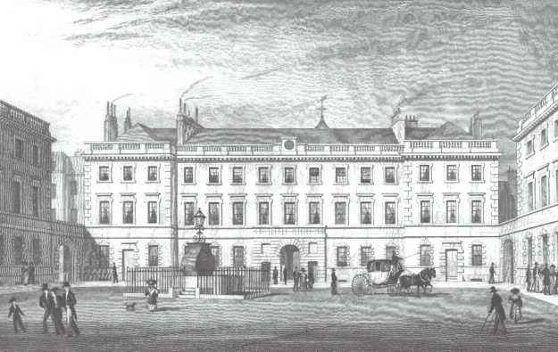 A black and white etching of a large building with a courtyard in the foreground
