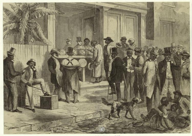 An etching depicting a group of black men stepping up to a polling box to vote