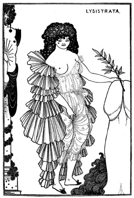 A black and white illustration of a woman with a breast revealed