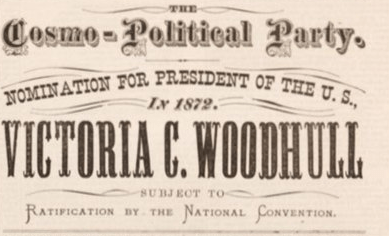 front page of a newspaper declaring Woodhull's campaign for president