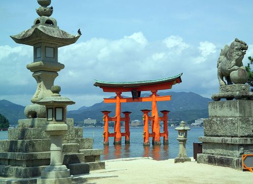 A red torii at the Shinto shrine at Itsukushima