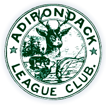 a green and white logo featuring the wildlife of the Adirondacks