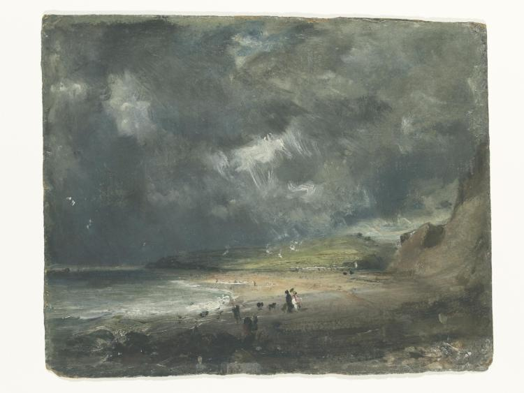 a dark painting of Weymouth Bay, 1816 by John Constable