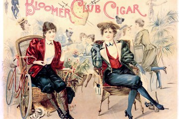 A colorful cigar ad poking fun at women wearing bloomers