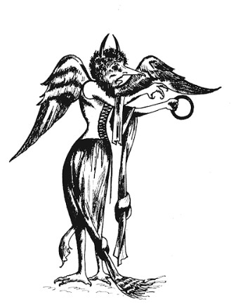 A black and white etching of a devil wearing a corset