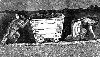 An etching of a woman hauling a coal cart in a very tight mine shaft