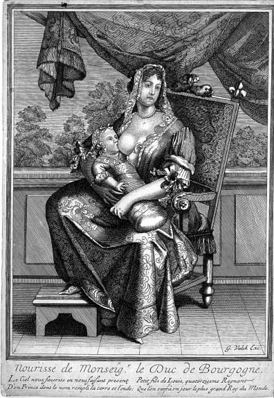 An engraving of a wet nurse breastfeeding a royal infant