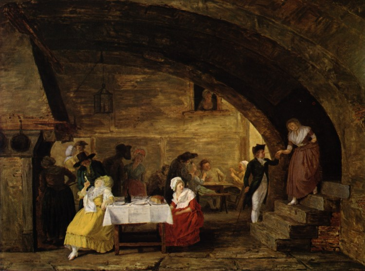 A painting depicting a warmly lit scene inside a dark tavern
