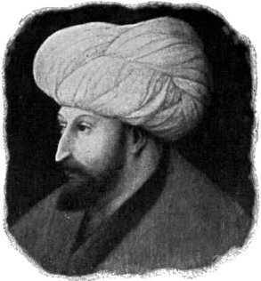 Black and white sketch of Mehmed II