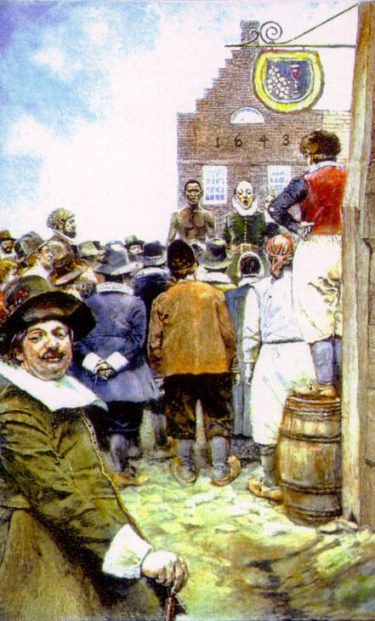 A modern painting depicting a Dutch slave market in NYC