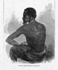 A black and white engraving depicting a black man without a shirt showing that his back is covered in shining whip scars