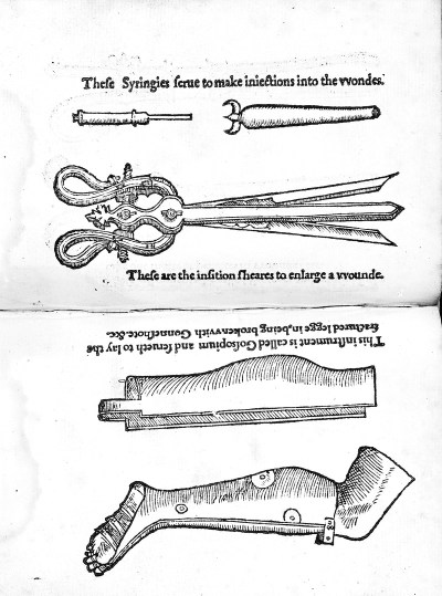 An etching depicting instruments such as syringes and splints used to treat gunshot wounds.