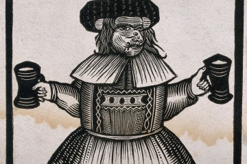 A woodcut of a witchy looking woman holding two tankards of ale