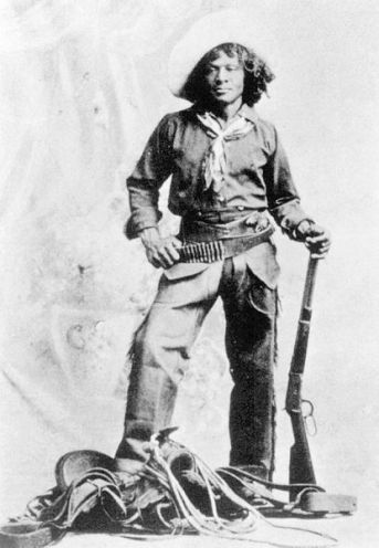 a black and white photograph of Nat Love, black cowboy