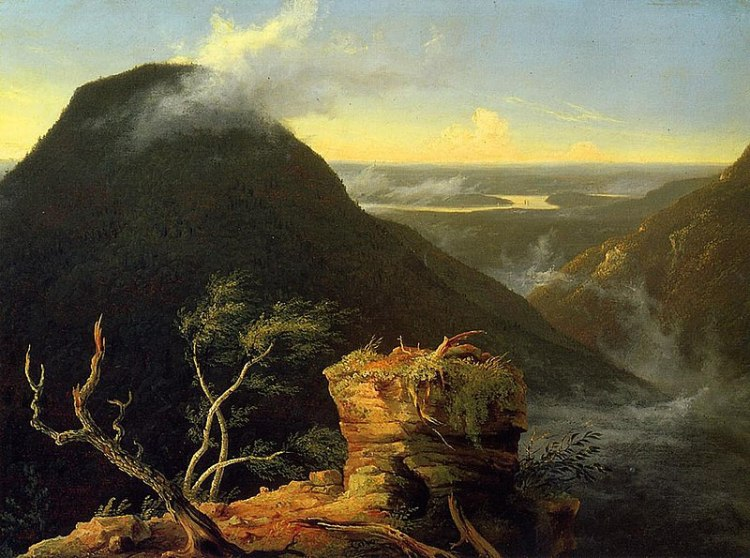 A painting depicting the sun rising beyond a huge wooded hill