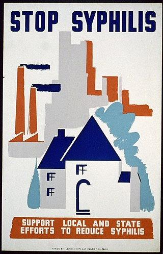 A colorful, abstract painted poster depicting what looks like a city and house