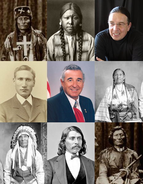 Several small portraits of Cheyenne people, both old black and white photographs and color photographs of modern Cheyenne