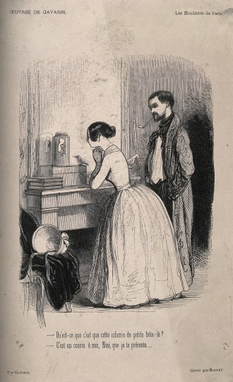An engraving showing a man and woman peering at a tiny fetus in a jar on a mantelpiece.