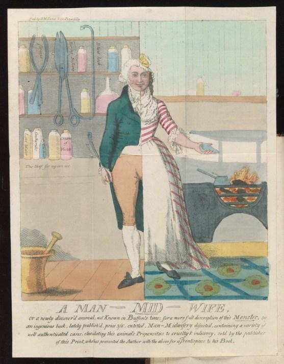 An illustration showing a half-man, half-woman midwife
