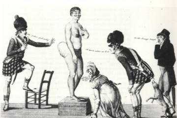 several white people inspect the body of Saartjie Bartman, the Hottentot Venus