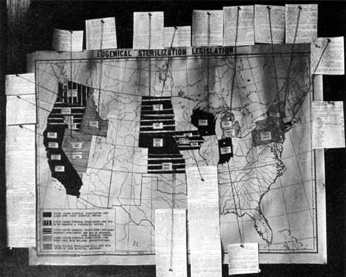 A black and white photograph of a map showing states with compulsory sterilization laws