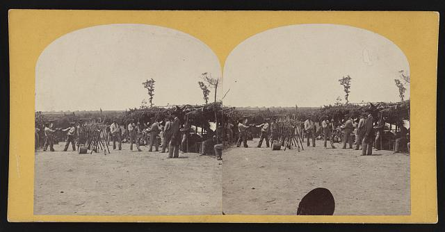 A stereograph of a boxing match in a Union Army camp