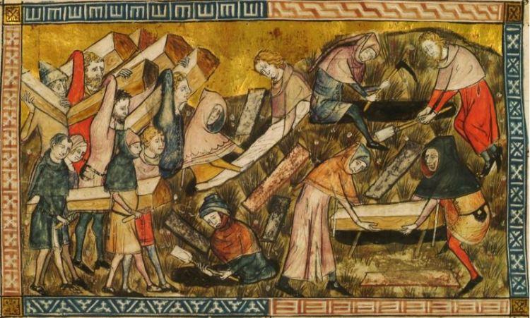 Citizens of Tournai bury plague victims