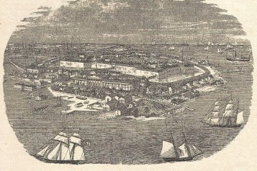 An engraving of Fortress Monroe