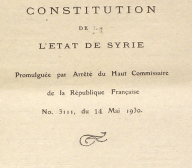 Constitution of the Syrian Republic, May 1930